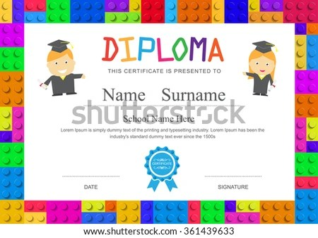 Kids Diploma Preschool Elementary School Design Stock Vector