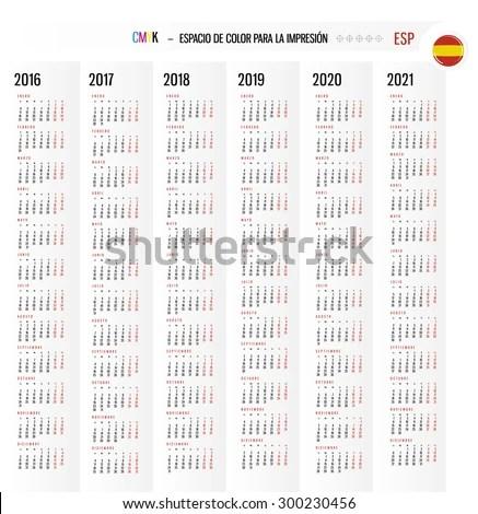 Calendar 2016 2017 2018 2019 2020 Stock Vector 300230456 - Shutterstock