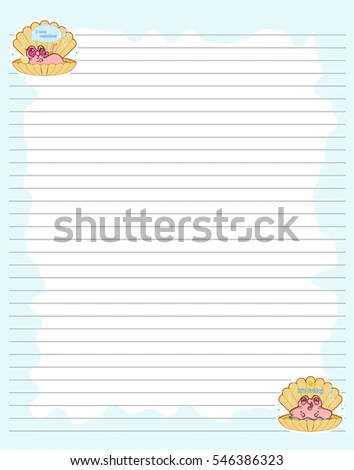 Vector Printing Paper Note Cute Paper Stock Vector 546386323 - lined printing paper