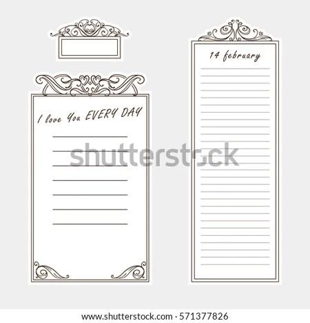 Vector Set Paper Note Bookmark Sticker Stock Vector 571377826 - bookmark size