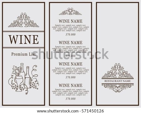 Vintage Design Restaurant Menu Wine List Stock Vector 571450126 - menu list sample
