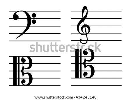 Music Notes Bass Clef Treble Clef Stock Vector 434243140 - Shutterstock - clef music