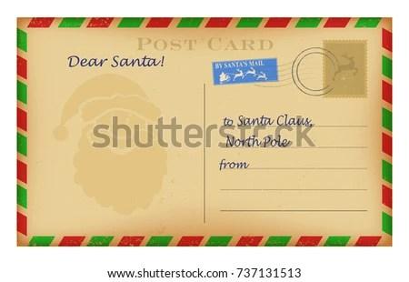 Vintage Christmas Letter Santa Template Wish Stock Photo (Photo
