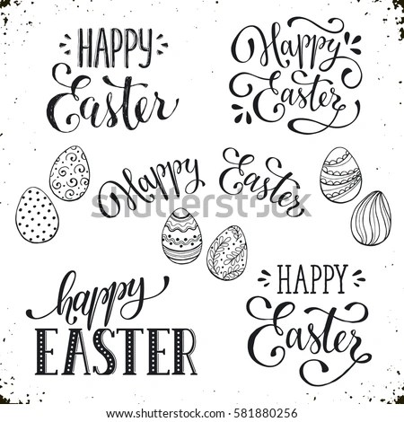 Hand Written Easter Phrases Greeting Card Stock Illustration - easter greeting card template