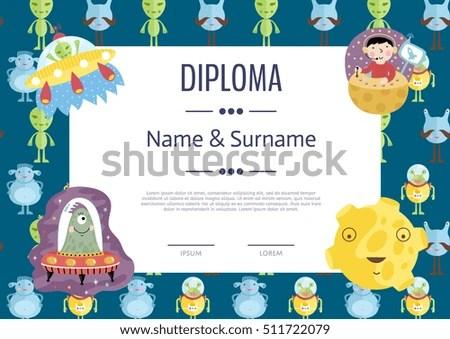 Kids Diploma Template Preschool Elementary School Stock Vector