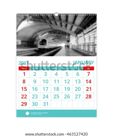 Wall Calendar 2017 January Design Layout Stock Vector (2018 - calendar sample design