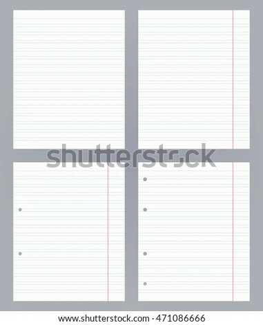 Set Blank Doublelined Exercise Book Vector Stock Vector 471086666