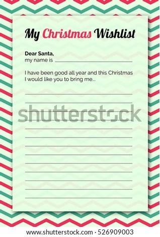 My Christmas Wishlist Printable Template Typical Stock Vector - christmas wishlist template