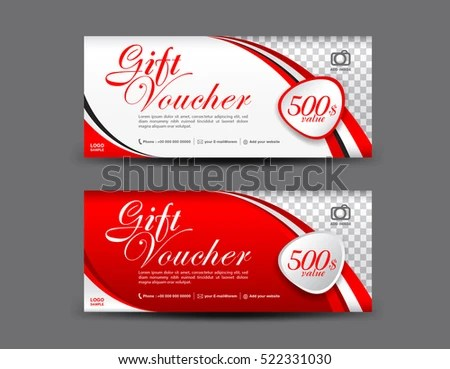 Red Gift Voucher Template Coupon Design Stock Vector HD (Royalty - gift voucher template