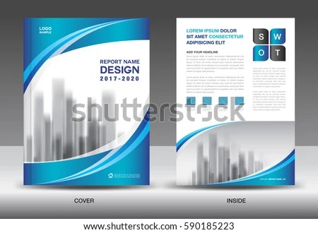 Brochure Template Layout Blue Cover Design Stock Vector (Royalty
