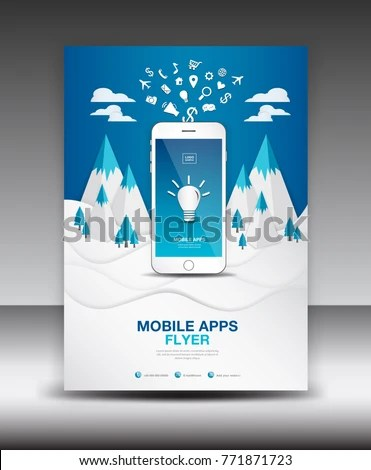Mobile Apps Flyer Template On Winter Stock Vector 771871723 - winter flyer template