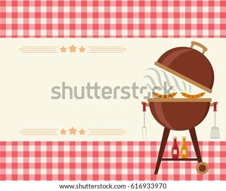 Barbecue Party Blank Invitation Flyercardinvitation Template Stock