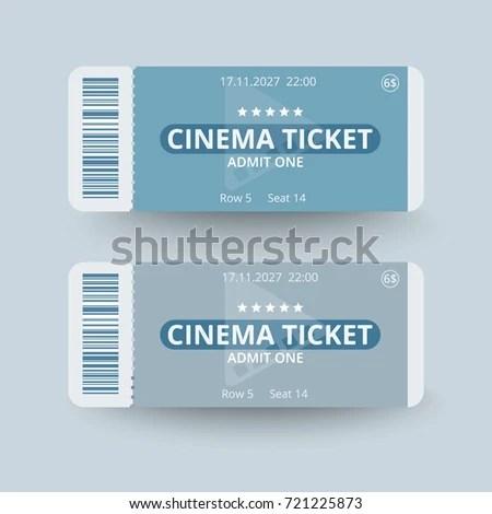 Cinema Ticket Template Vector Illustration Stock Vector 721225873