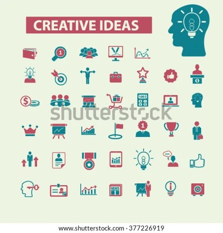 Creative Marketing Concept Icons Strategy Advertising Stock Vector