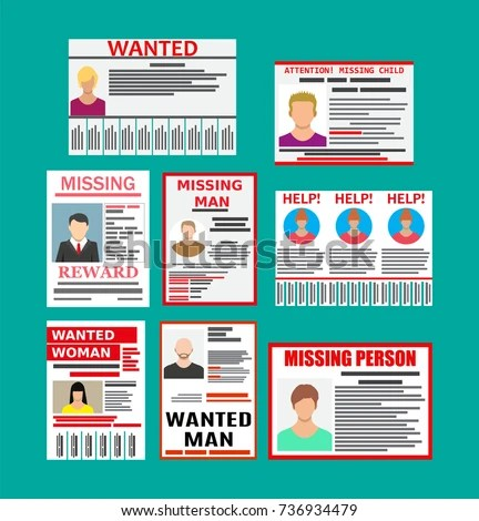 Wanted Person Paper Poster Missing Announce Stock Vector 736934479 - lost person poster