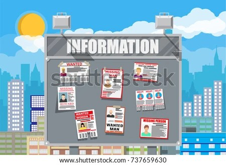 Wanted Person Paper Poster Missing Announce Stock Vector 737659630 - lost person poster