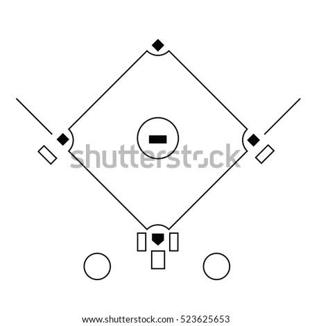 Baseball Field Template On White Background Stock Vector 523625653 - baseball field template