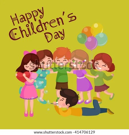 Happy Childrens Day Greeting Card Design Stock Vector 414706129