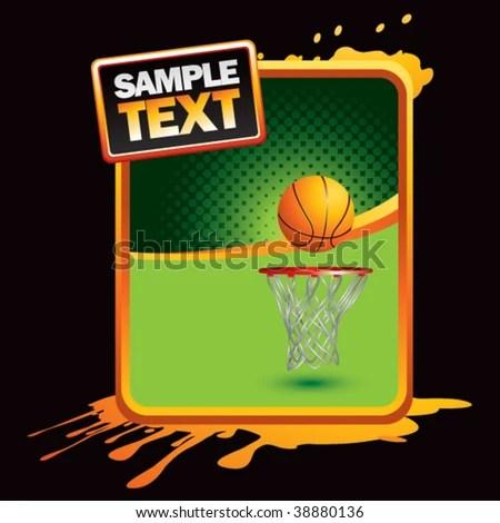 Basketball Hoop On Orange Splattered Banner Stock Vector (2018