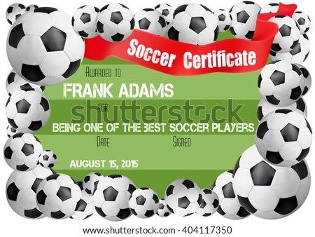 Soccer Certificate Template Football Ball Icons Stock Vector HD - football certificate template