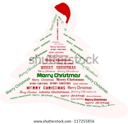 Christmas Tree Made Words Vector Illustration Stock Vector 117255856 - christmas tree words