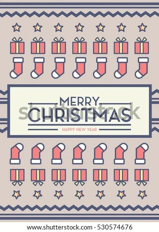 Merry Christmas Card Cover Sock Background Stock Vector 530574676