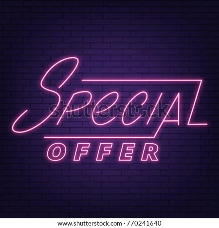 Sale Neon Sign Special Offer Neon Stock Vector HD (Royalty Free