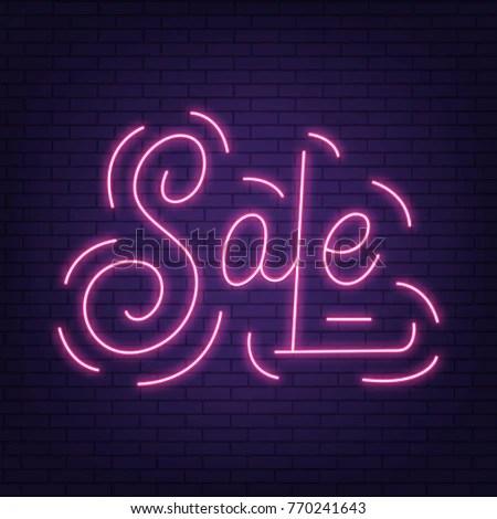 Sale Neon Sign Sale Neon Lettering Stock Photo (Photo, Vector