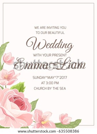 Wedding Marriage Invitation Card Template RSVP Stock Vector - wedding card template