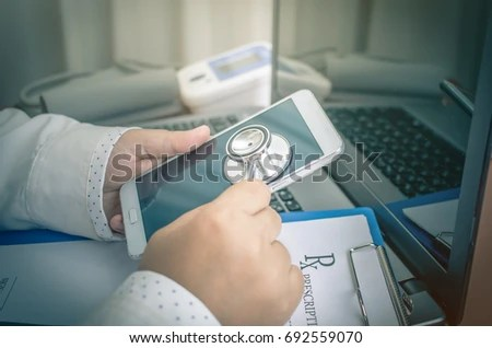 Doctor Holding Stethoscope Patient Note Blood Stock Photo - patient note