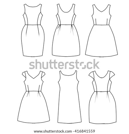 Set Flat Sketch Fashion Template Woman Stock Illustration 416841559 - fashion template