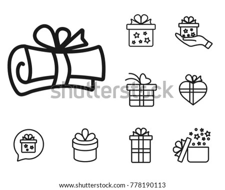 Congratulations Letter Linear Gift Icon Set Stock Photo (Photo - congratulations letter