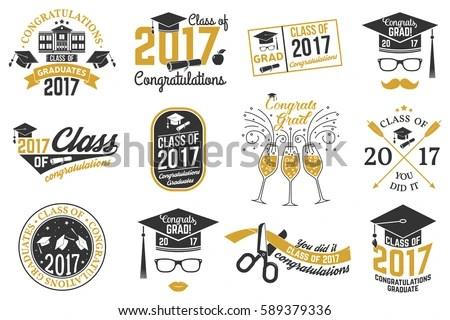 Set Vector Graduates Class 2017 Badges Stock Photo (Photo, Vector - print grad cards