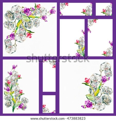 Set Forms Congratulations Invitations Menu Exotic Stock Illustration - invitation forms