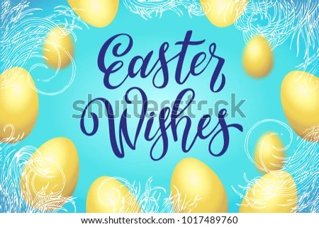 Easter Wishes Greeting Card Template Hand Stock Vector 1017489760