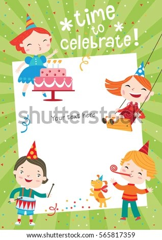 Children Having Fun Birthday Party Template Stock Vector (2018