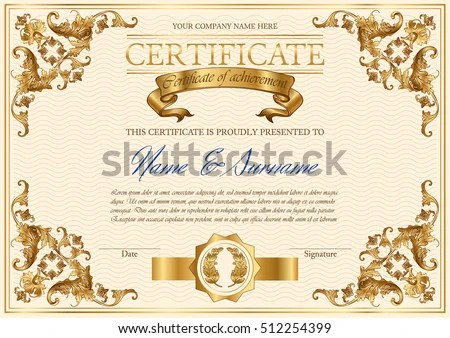 Vector Detailed Vintage Style Certificate Achievement Stock Vector