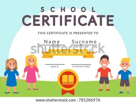 School Certificate Template Kids Kindergarten Students Stock Vector - certificate template for kids