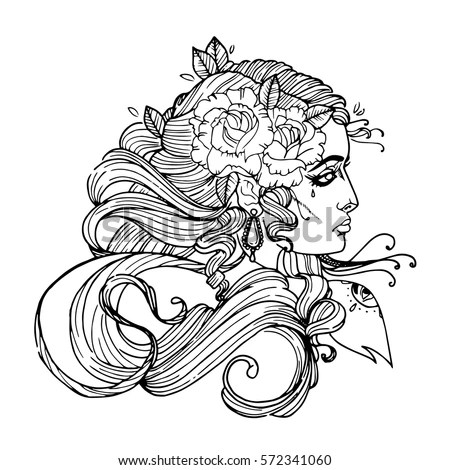 Woman Face Curly Hair Flower Girl Stock Vector 572341060 - tattoo template