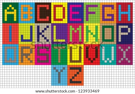 Set Funny Colorful Vector Digital Alphabet Stock Vector 123933469 - digital graph paper