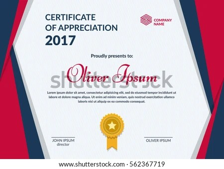 Certificate Appreciation Template Layered Eps 10 Vector Stock Vector
