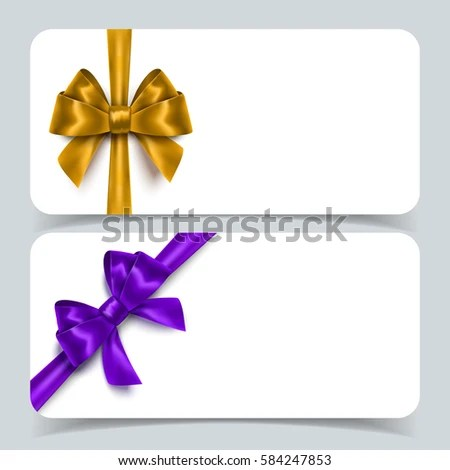Blank Voucher Cards Realistic Ribbon Bows Stock Vector (2018 - blank voucher