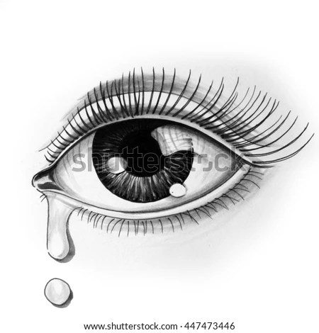 Sad Girl Sketch Wallpaper Eye Stock Illustration 447473446 Shutterstock
