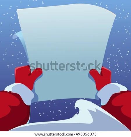 Christmas Greeting Card Santa Claus Holding Stock Vector 493056073