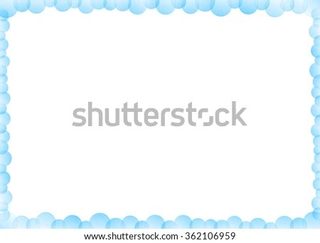 Fresh Blue Overlapping Circle Bubble Border Stock Illustration