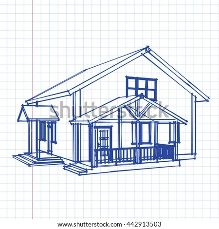 Hand Sketch House On Graph Paper Stock Vector (Royalty Free