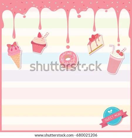 Illustration Vector Sweet Dessert Menu Template Stock Vector