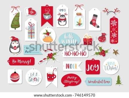 Set Cute Merry Christmas Happy New Stock Vector HD (Royalty Free