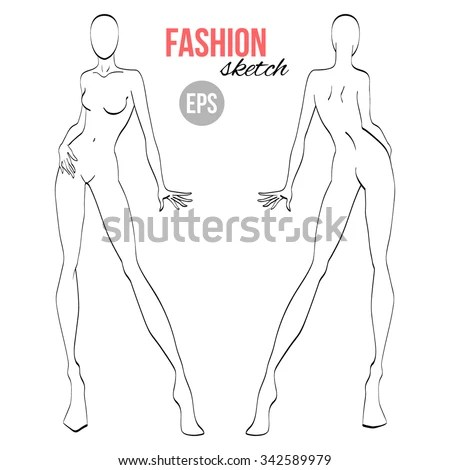Vector Outline Girl Model Template Fashion Stock Vector 342589979 - model template