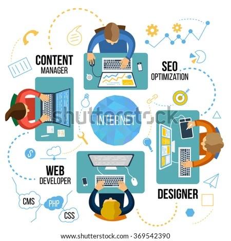 Flat Design Modern Vector Illustration Creative Stock Vector